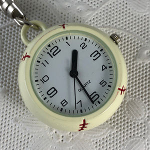 Baseball Shaped Metal Watch and Key Chain New NOS